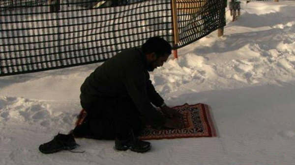 Muslim Prayer in Snow