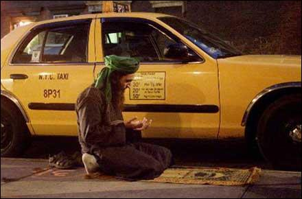 taxi, cab driver in prayer salah